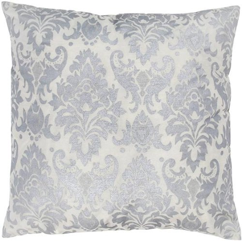 Indore Damask Pillow  18 Hx18 Wx3 D  Silver White