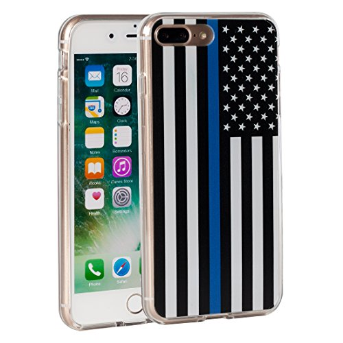 (iPhone 7 Plus Case,iPhone 8 Plus Case,AIRWEE Thin Blue Line US Flag Pattern Slim Clear Acrylic PC Hard Back Cover with Soft Rubber TPU Bumper Hybrid Protective Case for Apple iPhone 7 Plus/8 Plus)