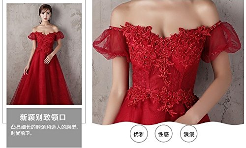 Generic Korean toast clothing red wedding dress banquet presided over strapless evening dress sexy long Dress Costume for women girl by Generic (Image #6)