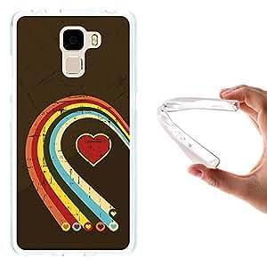 WoowCase - Funda Gel Flexible { Huawei Honor 7 } Corazones Multicolor Carcasa Case Silicona TPU Suave