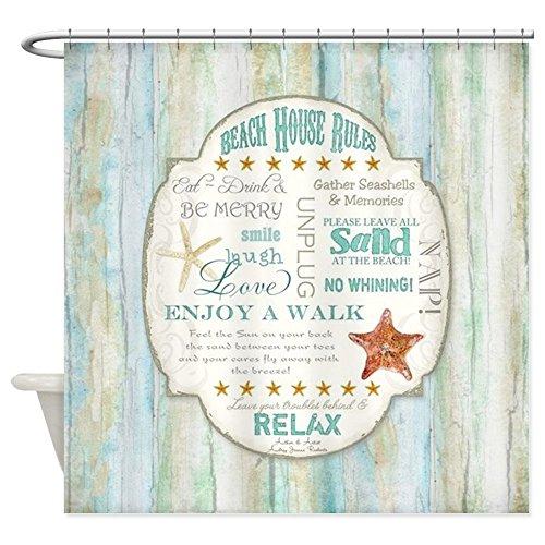 CafePress - Beach House Rules Ocean Driftwood B Shower Curtain - Decorative Fabric Shower Curtain (Beach Curtains House)