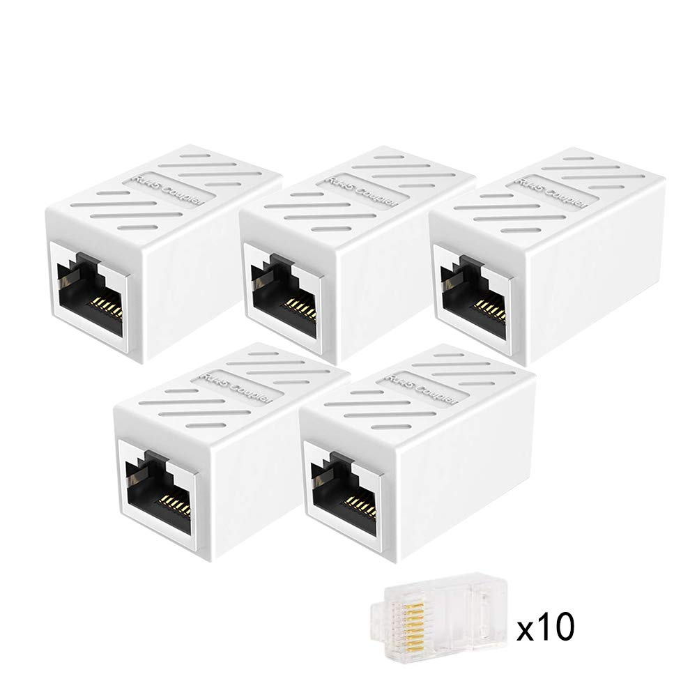 CAIVOV Ethernet Couple Cat7 Cat6 Cat5e Ethernet Cable Extender Adapter LAN Connector in Line Coupler Female to Female RJ45 Coupler White-5 Pack