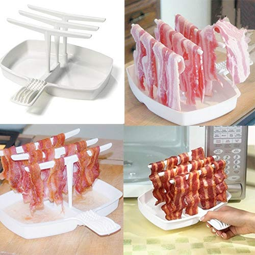 Sala-synth - Removable Bacon Tray Rack Barbecue Breakfast Meal Gadgets Less Fat Healthier Cooking Tool Microwave Bacon Cooker Shelf Rack New from Sala-synth