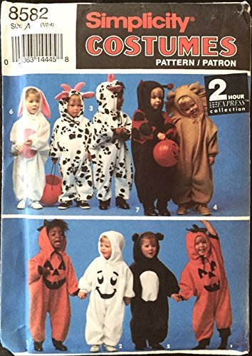 1993 Simplicity Halloween Costume Sewing Pattern 8582. Baby/Toddler/Children's Sizes 1/2; 1; 2; 3; 4 Bunny/rabbit; Cow; Ladybug; Lion; Pumpkin; etc Costumes