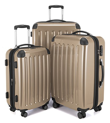 HAUPTSTADTKOFFER Luggages Sets Glossy Suitcase Sets Hardside Spinner Trolley Expandable (20'', 24'' & 28'') TSA Champagne by Hauptstadtkoffer