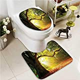VROSELV U-Shaped Toilet Mat Three Paper Hanging on the Branches Lighting Fixture Source 2 Pieces Microfiber Soft