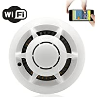 YYCAMUS P2P Wifi Hidden Camera Smoke Detector Nanny Real Time View Spy Cam Motion Activated Mini DVR Security Cam for Home Cars Bathrooms Kids Remote View
