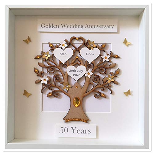 ba08cd5dc8a Personalised 50 Years 50th Golden Wedding Anniversary Family Tree Picture  Frame Gift  Amazon.co.uk  Handmade