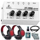 Behringer HA-400 Compact 4-Channel Stereo Headphone Amplifier and Accessory Bundle w/ 2X Closed-Back Xpix Design Headphones, Headphone Sanitizer, Cable, Fibertique Cloth