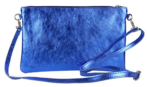 Royal Italian Girly Clutch HandBags Genuine Metallic Bag Leather Blue Tz7Cwz