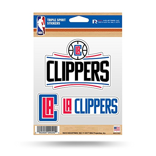 Rico Industries NBA Los Angeles Clippers Die Cut 3-Piece Triple Spirit Sticker Sheet ()