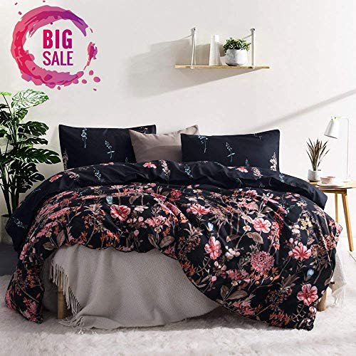 Leadtimes Queen Floral Duvet Cover Set, Soft Black Bedding Set 2 Pillowcases and 1 duvet cover (Queen, Style8)