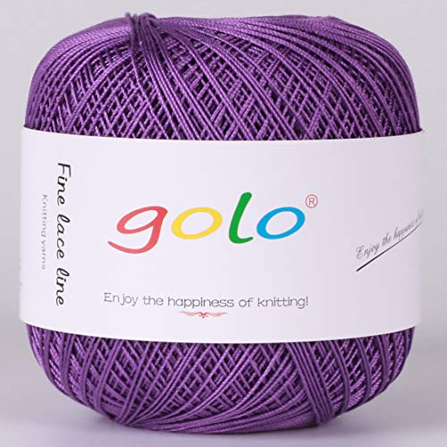 Crochet Thread Yarns for Begingers Size6-100% Contton Yarn for Knitting Crochet DIY Hardanger Cross Sitch Crochet Thread Balls Rainbow Turquoise 39 Colors Avilable (Violet) ()