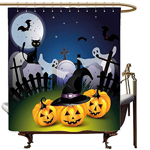 MaryMunger Polyester Shower Curtain Halloween Funny Cartoon Design with Pumpkins Witches Hat Ghosts Graveyard Full Moon Cat Shower Curtains in Bath W72x84L Multicolor]()