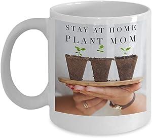 Funny Stay at Home Plant Mom Coffee Mug - Axiom Ceramic Double Printed 11 oz Mugs
