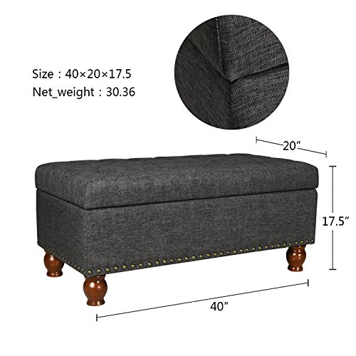 Asense Fabric Rectangle Tufted Lift Top Storage Ottoman Bench, Footstool with Solid Wood Legs, Nailhead Trim (Black Grey)