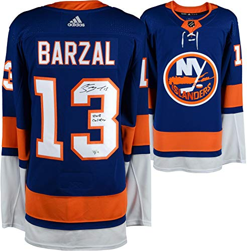 Autographed Authentic Away Jersey - Mathew Barzal New York Islanders Autographed Blue Fanatics Breakaway Jersey with 2018 Calder Inscription - Fanatics Authentic Certified