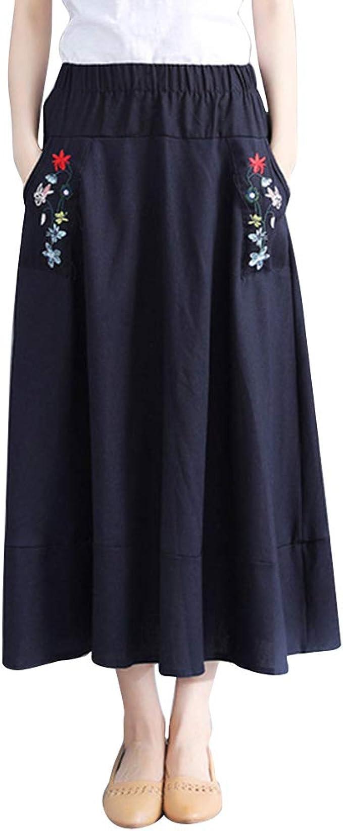 YouXin Faldas Midi para Mujer Cintura Ligera Clásica Faldas Larga ...