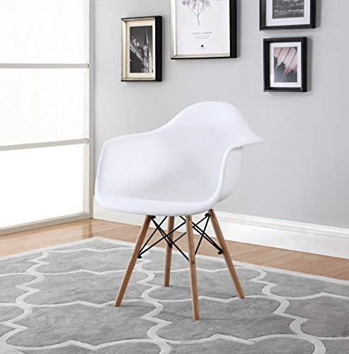 Modern EAMES Style Armchair Natural Wood Legs (Set of ()