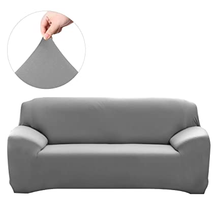 WINOMO Sofa Slipcover Cushion Couch Covers Furniture Protector 3 Seater Elasticity Sofa Cover(Grey)
