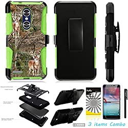 For ZTE MAX XL N9560 /3Items [Clear LCD Film]+Stylus Pen+[Impact Resistance] Dual Layer [Belt Clip] Holster Combo [KickStand] Phone Case Green Trunk Deer - Green