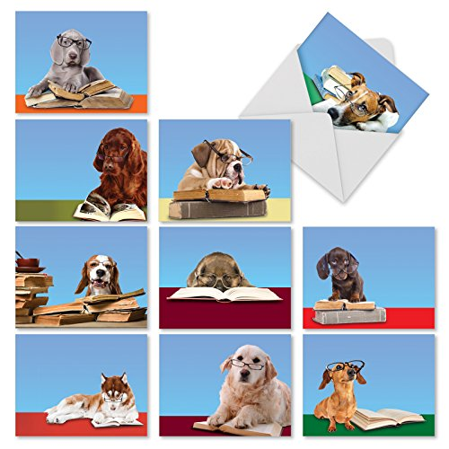 M2967 Reading Eye Dogs: 10 Assorted Thank You Note Cards Featuring Book Smart Puppies Wearing Eyeglasses, w/White - Eyeglass World American