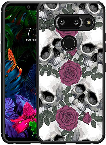 (G8 ThinQ Case Skull/IWONE Designer Rubber Durable Protective Skin Black Cover Shockproof Compatible for LG G8 [G8 ThinQ] Skull Flower)