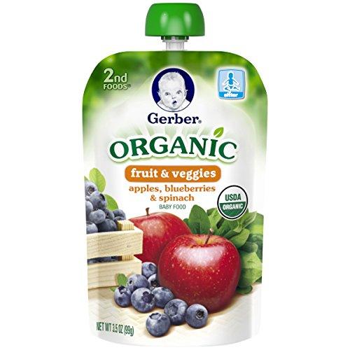 Gerber Organic 2nd Foods Purees Apples Blueberries & Spinach, 3.5 Ounce (Organic 2nd Foods Apple)