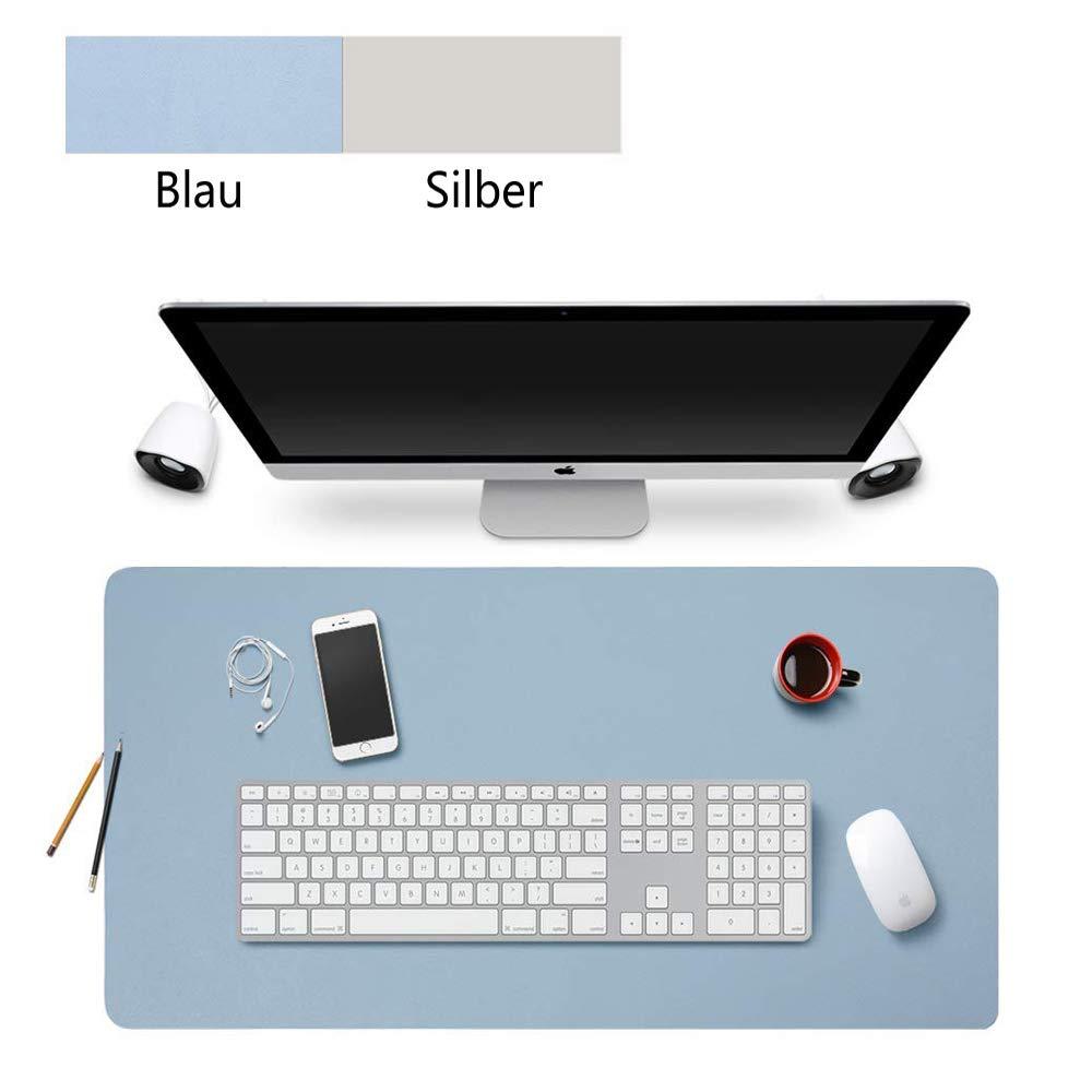 multifunzione Sottomano da scrivania casa Blau+Silber in pelle di poliuretano tappetino per mouse 60 x 30 cm utilizzabile su entrambi i lati antiscivolo impermeabile per ufficio