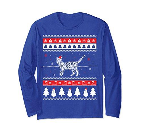 Unisex Funny Christmas Bengal Cat Long Sleeve T-Shirt 2XL Royal Blue