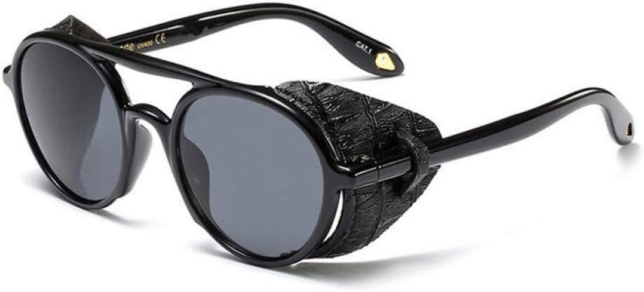 TYJYTM Gafas de Sol de Cuero góticas Retro para Hombres Gafas de Sol de protección Lateral Redonda Punk para Mujeres