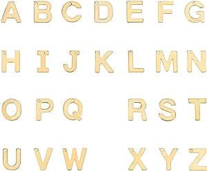 1,5mm PandaHall 200 colgantes de aleaci/ón chapada en plata al azar con letras del alfabeto para hacer joyas agujero 12-17x4-15x2mm