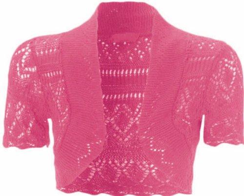 New Womens Plus Size Crochet Knit Fish Net Bolero Shrugs Tops 8-20 ( Cerise , UK 20 / EU 48 )