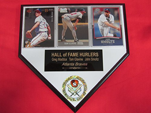 J & C Baseball Clubhouse Greg Maddux Tom Glavine John Smoltz Braves 3 Card Collector Home Plate Plaque to Amazon!