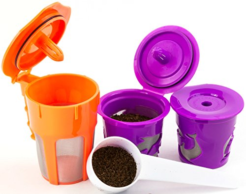 Keurig 2.0 K-Carafe Reusable Coffee Filter and Single Refillable K-Cup 4 piece Bundle Gift Set with Coffee Scoop for K200, K300, K400 and K500 series (Carafe Refillable Filters compare prices)