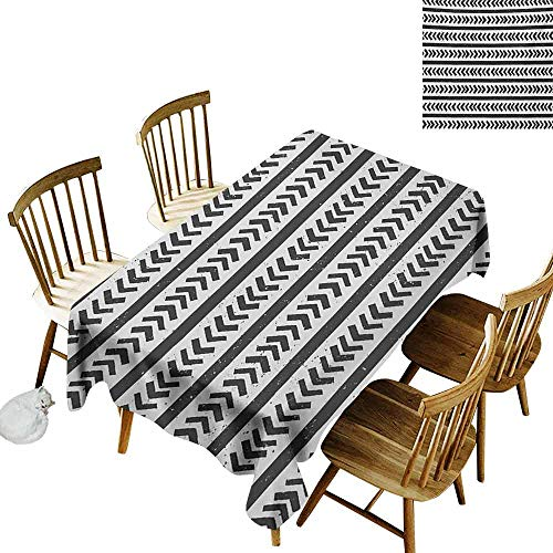 Mannwarehouse Geometric Waterproof Tablecloth Hand Drawn Stripes and Arrow Shapes Pattern with Grunge Background Table Decoration W60 x L120 Charcoal Grey and White