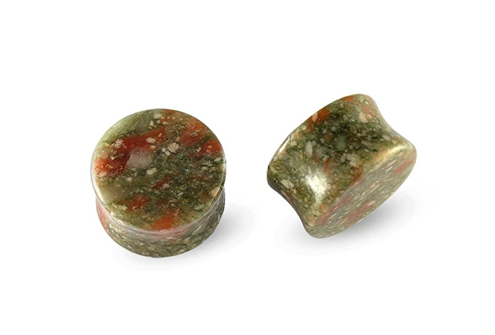 Pair Green Spot Marble Stone Plugs 20mm 13//16