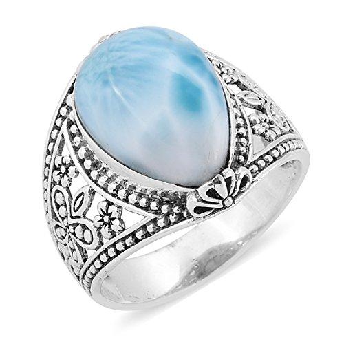 925 Sterling Silver Pear Larimar Ring Size 10 (Larimar Pear Ring)