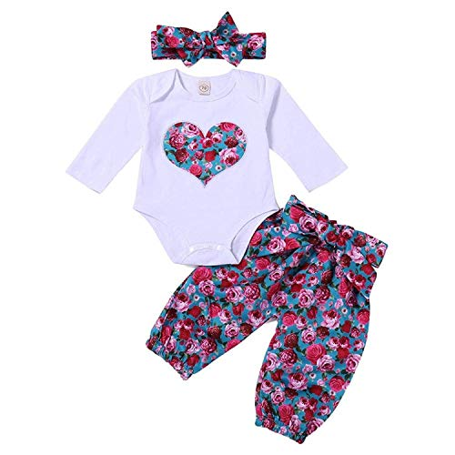 3Pcs Newborn Baby Girls Floral Heart Peach Print Romper Top and Flower Long Pants Bowknot Headband Outfits (Label 70/Age 0-6M) (Peach Label)