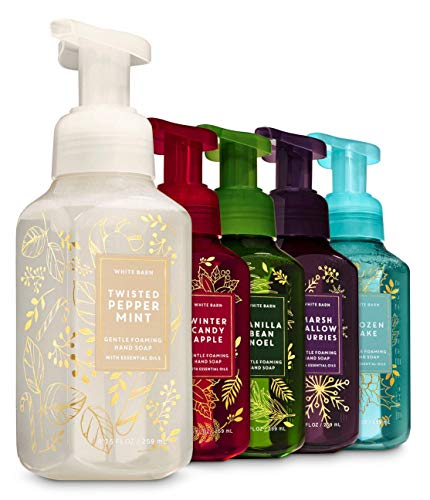 Bath and Body Works Christmas Favorites Foaming Hand Soaps - Set of 5: Marshmallow Flurries + Vanilla Bean Noel + Winter Candy Apple + Twisted Peppermint + Frozen Lake - 8.75 ounces each