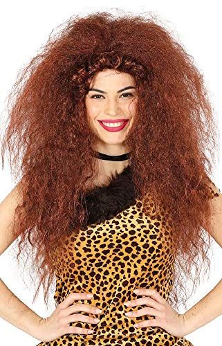 Ladies Wild Prehistoric Cave Woman Curly Long Frizzy Historical Neanderthal Halloween Fancy Dress Costume Wig Accessory ()