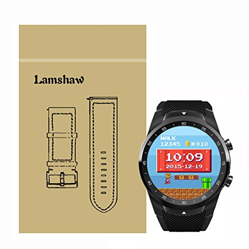 for TicWatch Pro Band, Lamshaw Classic Silicone Replacement Band for TicWatch Pro Bluetooth Smart Watch (Black)