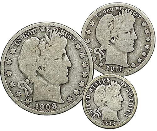 1892-1916 Barber Half Dollar, Quarter, Dime, Set of 3 Coins Circulated