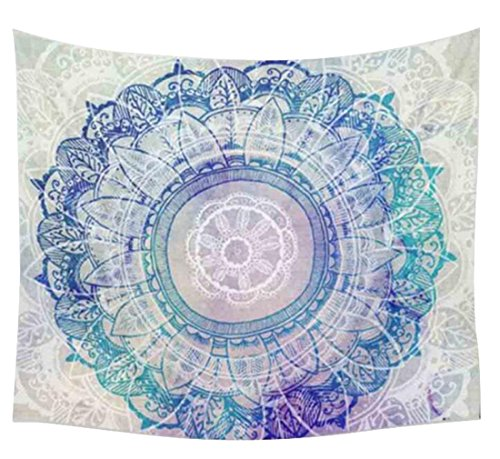 SYTX Hippie Gypsy Boho Throw Towel Tablecloth Hanging Floral Pink Purple Lotus Shape, The Boho Street, Large Round Lotus Flower Mandala Light Weight Tapestry, Outdoor Beach Roundie 2 a
