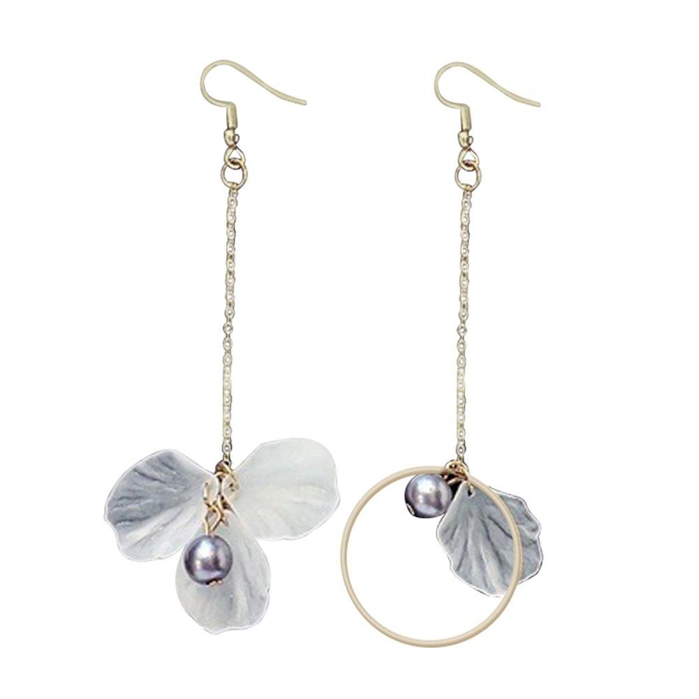 Ladies Elegant Dangle Earrings Long Tassel Flower Drop Asymmetrical Circle Ear Hook Jewellery Gift - Golden SoundsBeauty