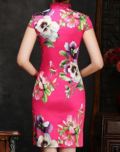 Fleurs Confortables Femmes Robes Imprimées Minces De Style Chinois Chic 1 Équipée