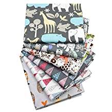 "6Pcs Cartoon Animals Multi Color 100% Cotton Print Fabric Fat Quarter Bundle 46cm x 56cm ( Approx 18"" x 22"") Patchwork Sewing Quilting Fabric"