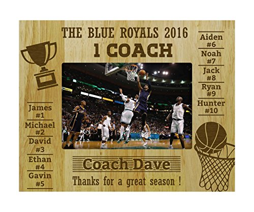 (Personalized Engraved Basketball Team Coach Gift Picture Frame With Playes Name -5 x 7 Inches Horizontal)