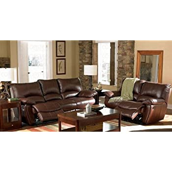 Amazoncom 2pc Recliner Sofa Loveseat Set in Brown Leather