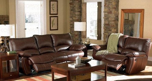2pc Recliner Sofa & Loveseat Set in Brown Leather Match price